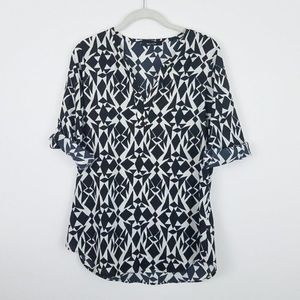 41 HAWTHORN Ivy Abstract Triangle Tab-Sleeve Top M